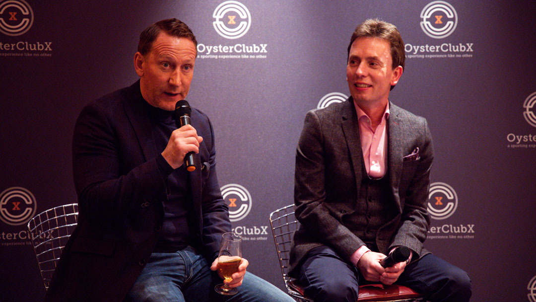 Ray Parlour and Ken Doherty entertain guests.