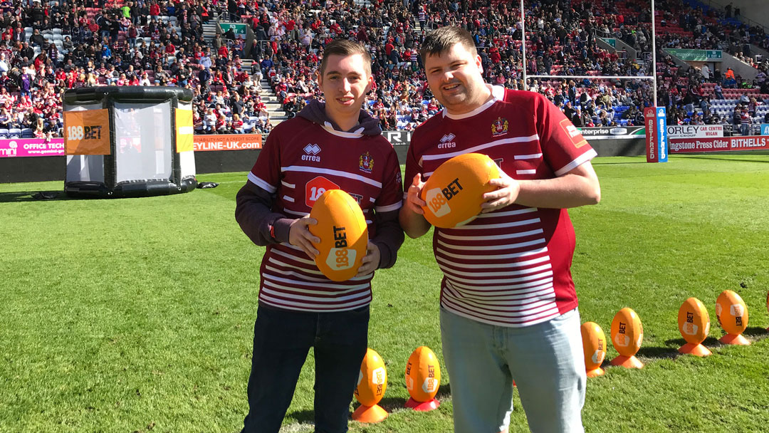 Contestants in the Adapt Events half-time challenge at Wigan Warriors