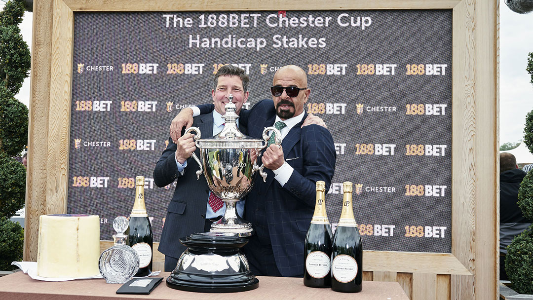 winners celebrating with Chester Cup at Chester May Festival